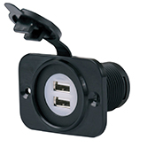 Dual USB Receptacle with Mounting Face