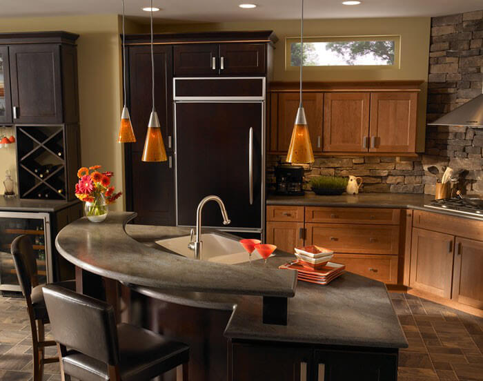 ... Lave Rock Corian Countertops In Kitchen