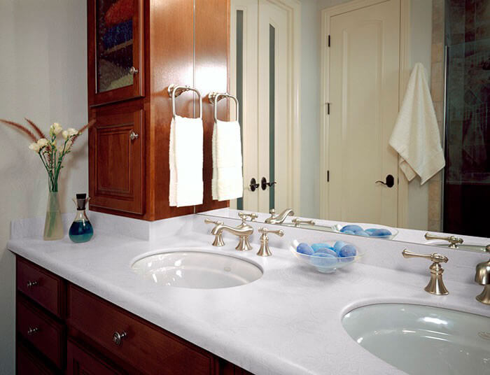 ... Luna White Corian Bathroom Vanity