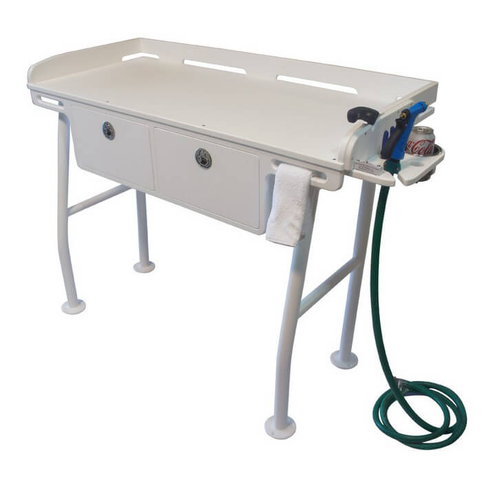 Dock fillet table with drawers boat outfitters for Dock fish cleaning station