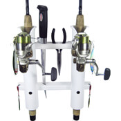 2 Rod Deluxe Fishing Rod Holder Rack White