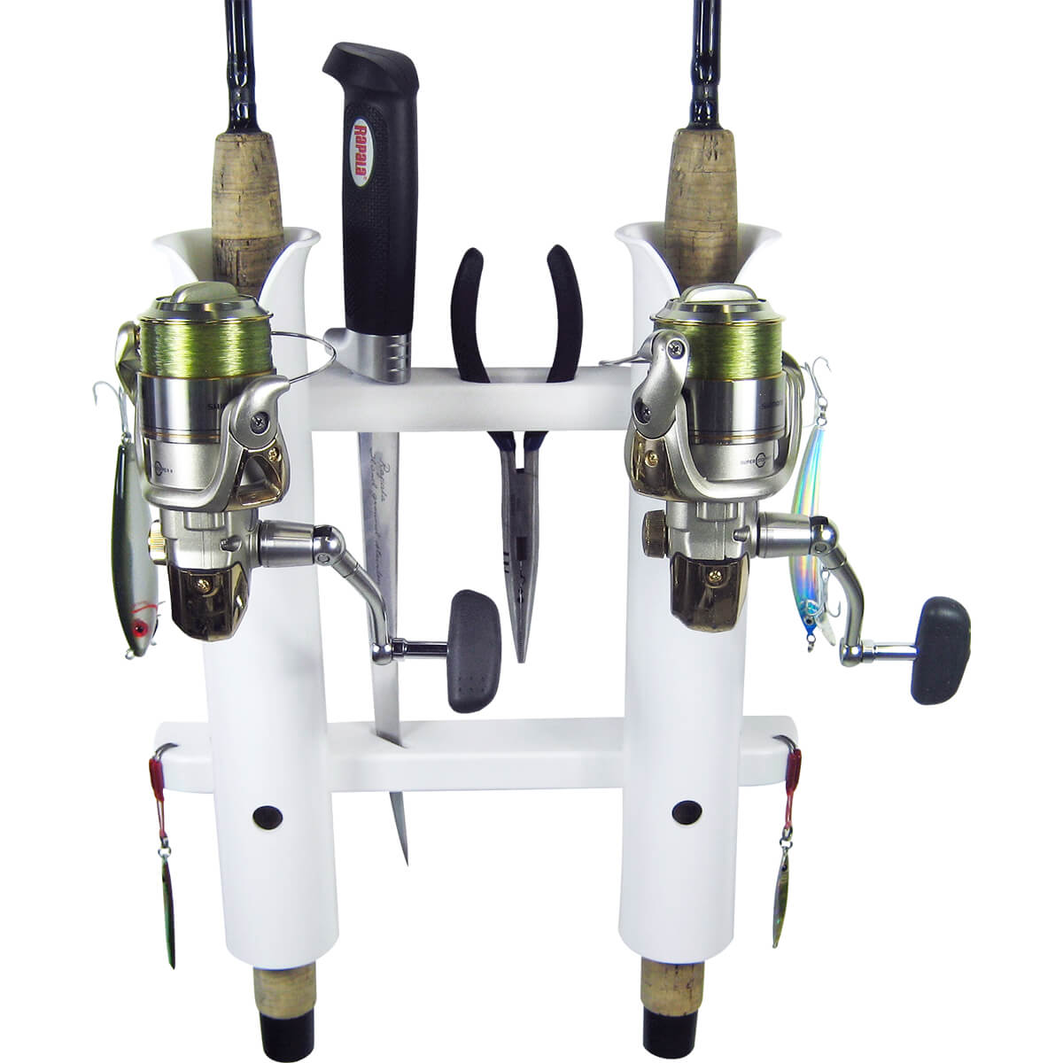 2 rod deluxe fishing rod holder rack white boat outfitters for Fishing pole holders for boats