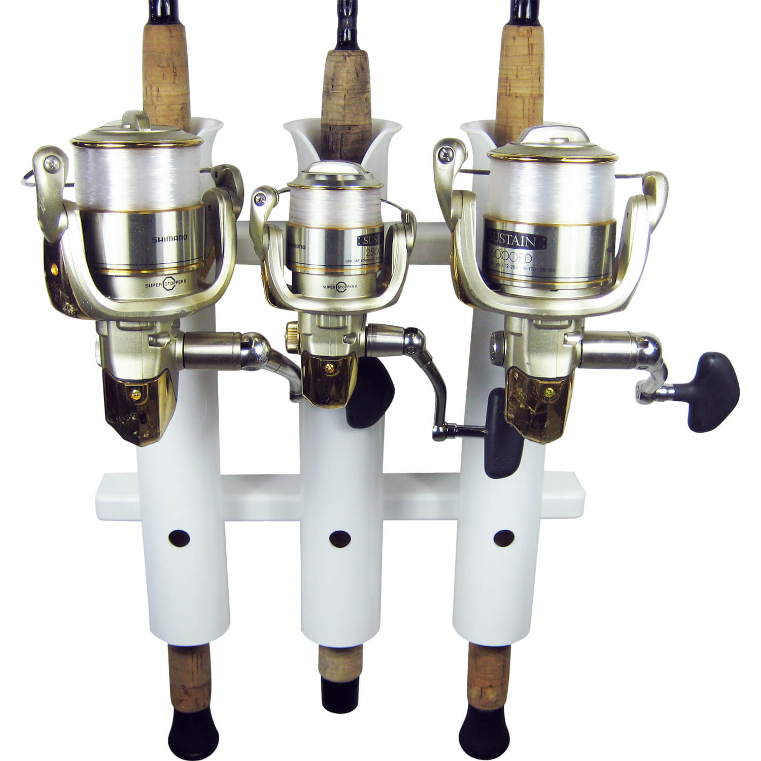 3 rod compact fishing rod holder rack white boat outfitters for Fishing pole holders for boats