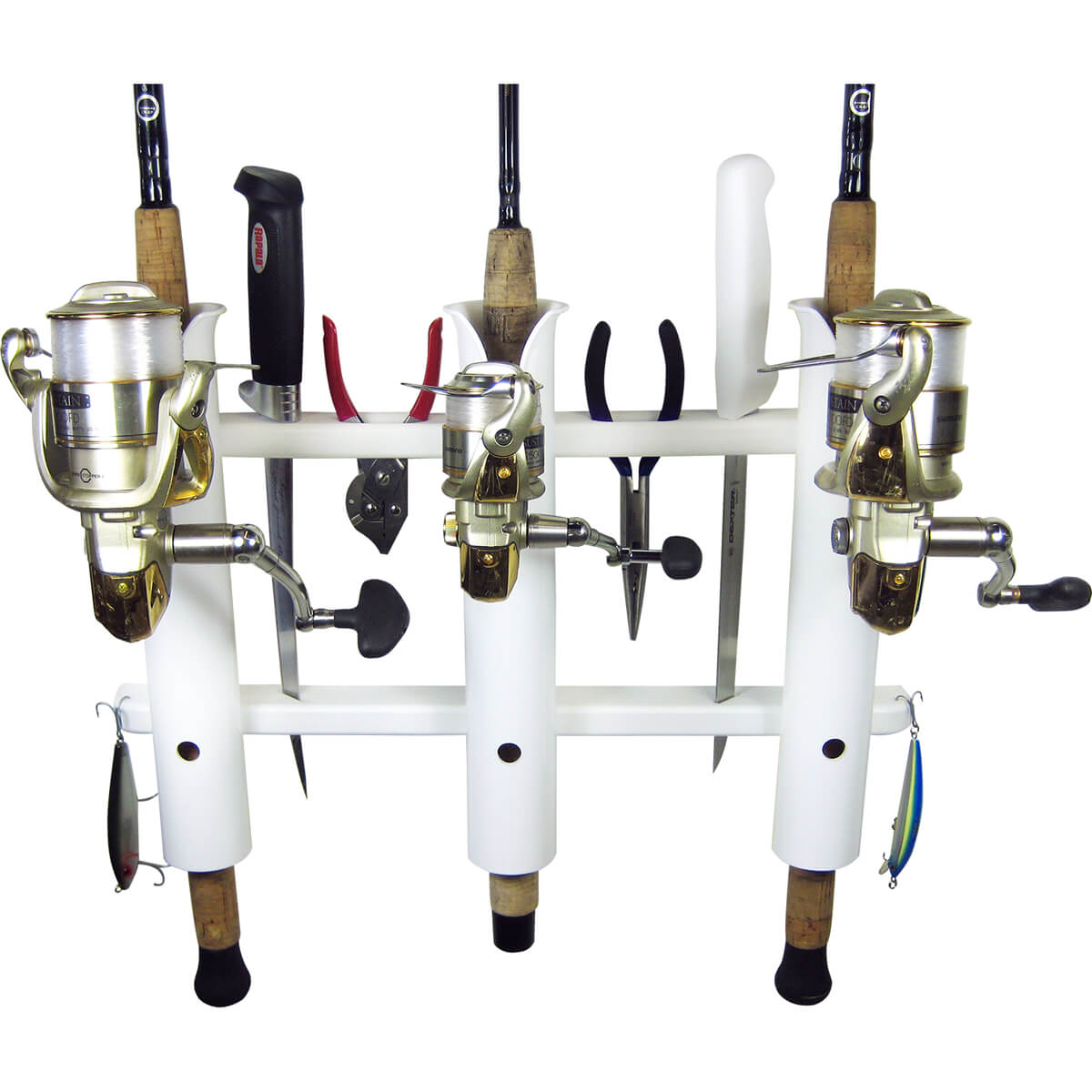3 rod deluxe fishing rod holder rack white boat outfitters for Fishing pole holders for boats