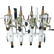"4 Rod Deluxe Fishing Rod Holder Rack White 11.875"" x 18"""