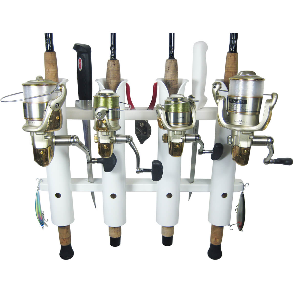 4 rod deluxe fishing rod holder rack white boat outfitters for Amazon fishing rod holders