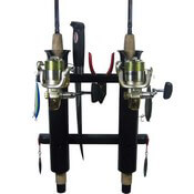 2 Rod Deluxe Fishing Rod Holder Rack Black