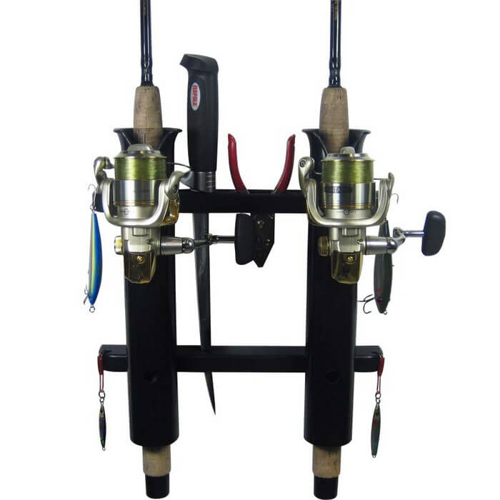 2 rod deluxe fishing rod holder rack black boat outfitters for Amazon fishing rod holders