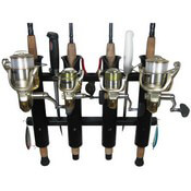 "4 Rod Deluxe Fishing Rod Holder Rack Black 11.875"" x 18"""