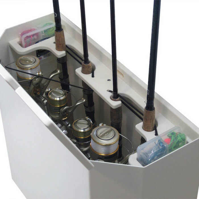 Pontoon rod storage box with plano trays boat outfitters for Fishing rod holders for pontoon boats