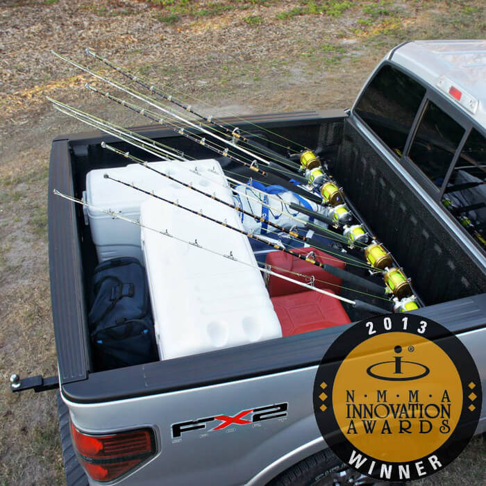 Pick up truck rod holder boat outfitters for Truck fishing accessories