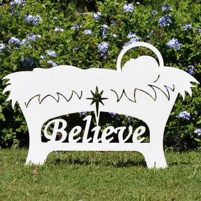 Believe Manger Jesus Silhouette Outdoor Nativity Sets