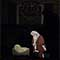 Kneeling Santa Outdoor Nativity Set - Night View