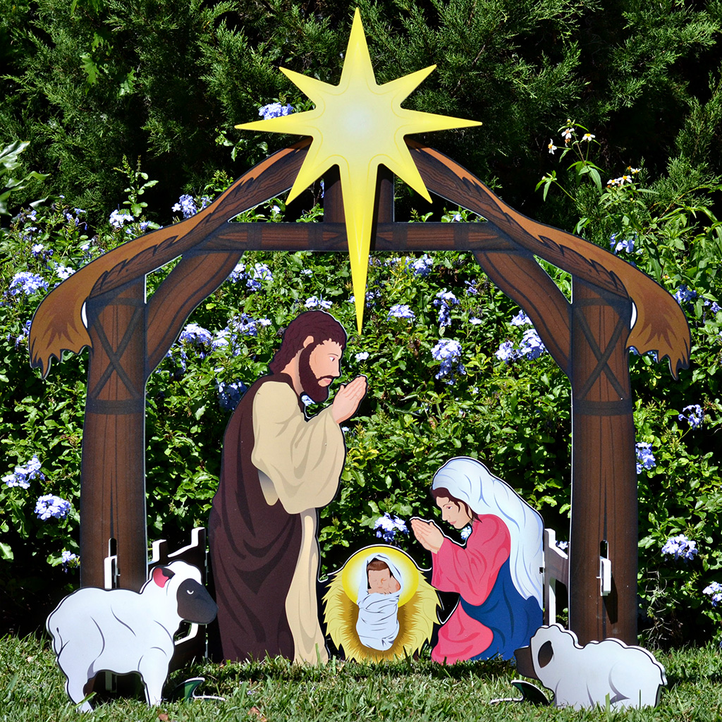 Holy Night Complete Printed Nativity Set | Outdoor ...