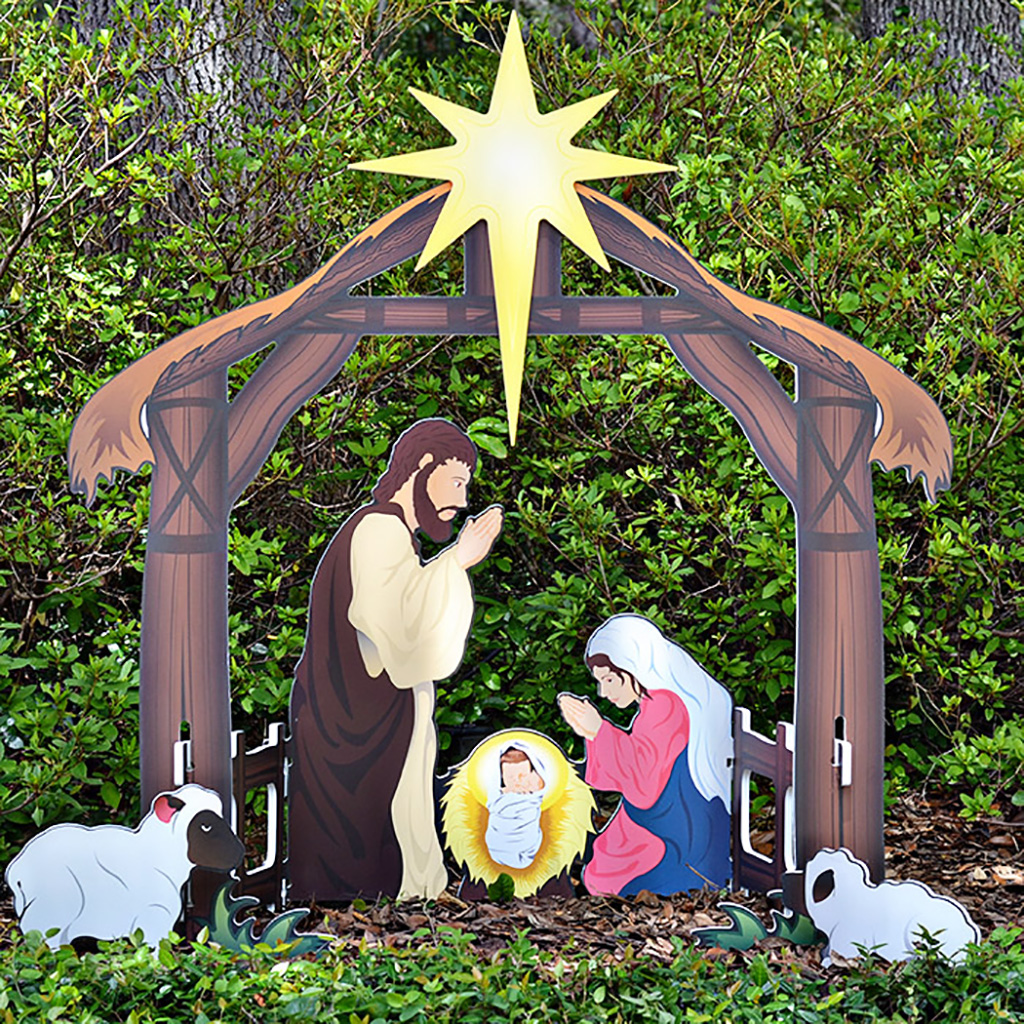 Holy night printed outdoor nativity set for Amazon christmas lawn decorations