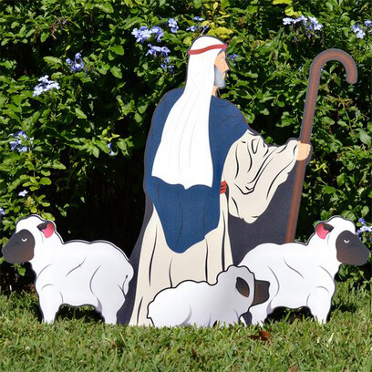 Printed Nativity Shepherd with Sheep
