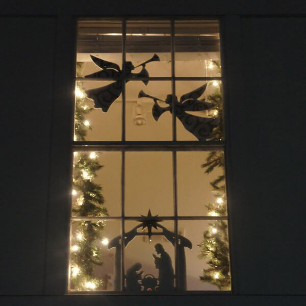 Flying angel window figure for 30 lighted nativity christmas window silhouette decoration