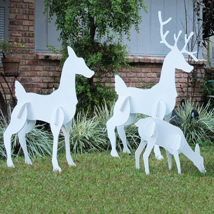 christmas reindeer family set - Painted Wood Christmas Yard Decorations