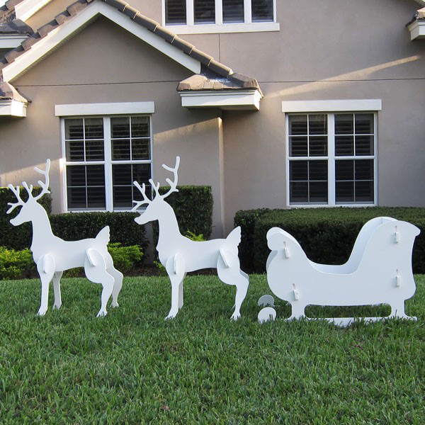 christmas sleigh and reindeer set