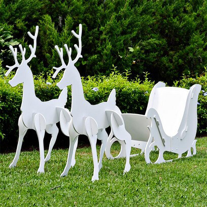2013 Large Christmas Sleigh and Reindeer Set