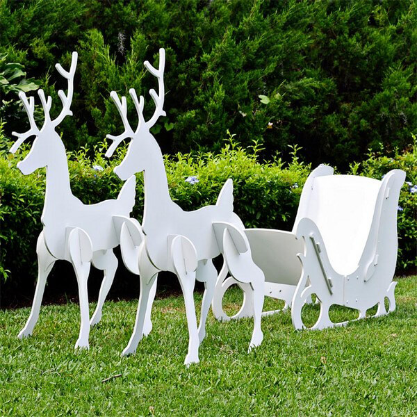 sleigh and reindeer set large - Decorative Christmas Sleigh Large