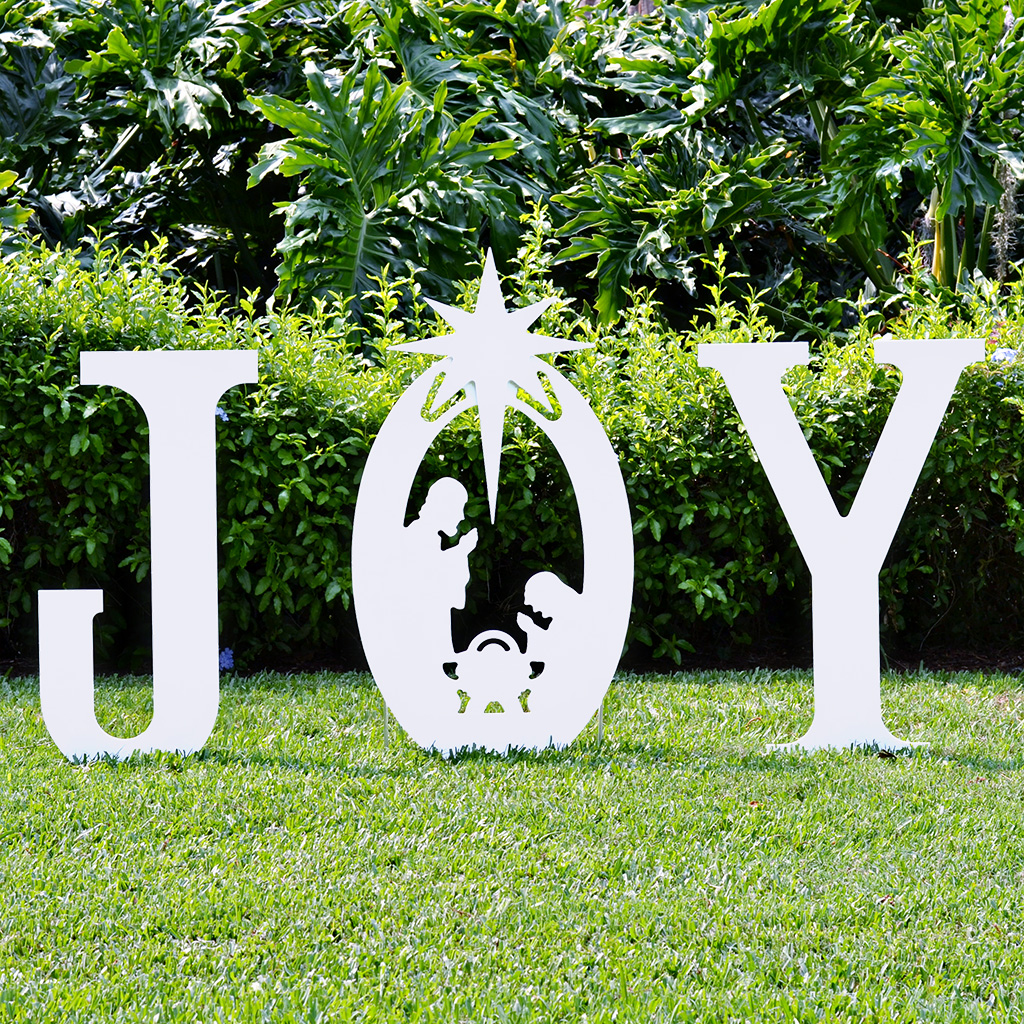 Joy nativity yard sign christmas yard art for Large outdoor christmas signs