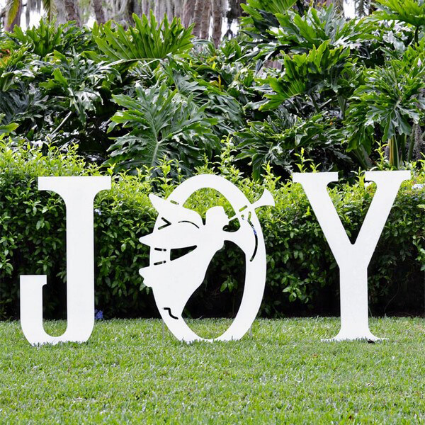 Joy angel yard sign christmas yard art for Large outdoor christmas signs