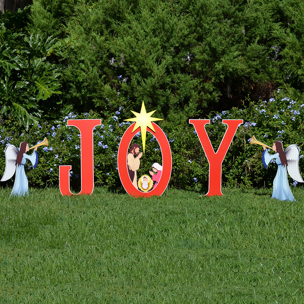 Joy nativity printed yard sign outdoor nativity sets for Large outdoor christmas signs