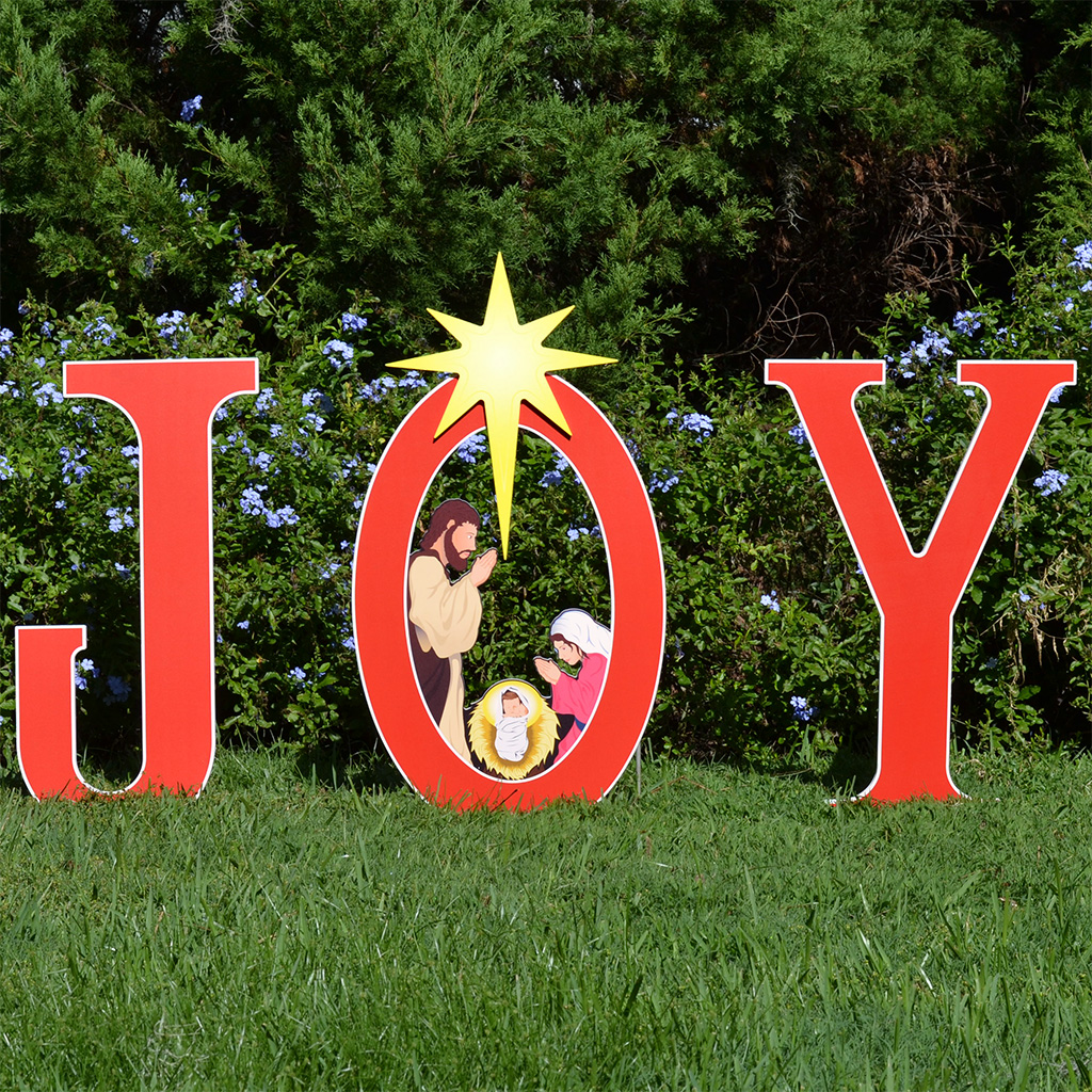 Joy nativity printed yard sign outdoor nativity sets for Outdoor christmas signs