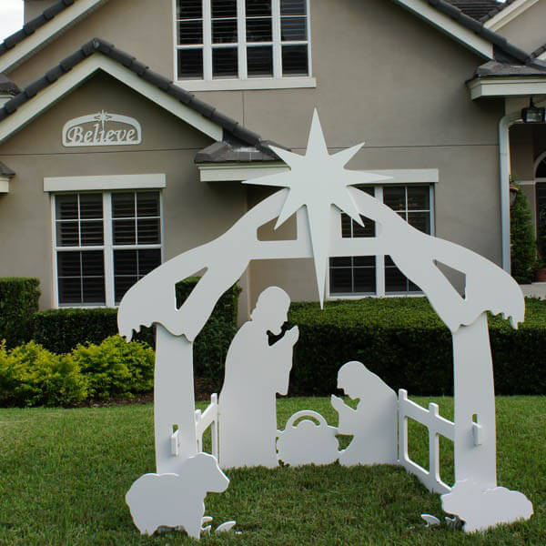 Christmas believe sign large with nativity