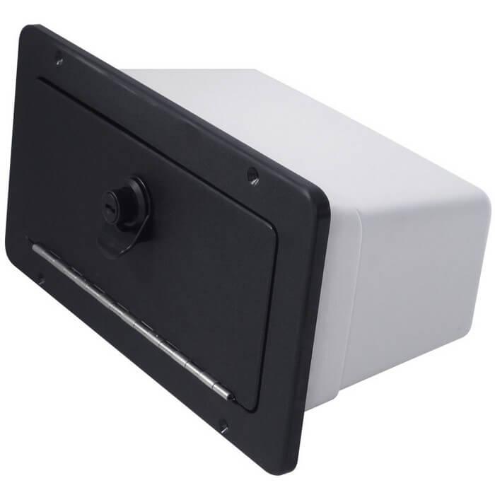Teak Isle Black Glove Box With Bin 13770 50454