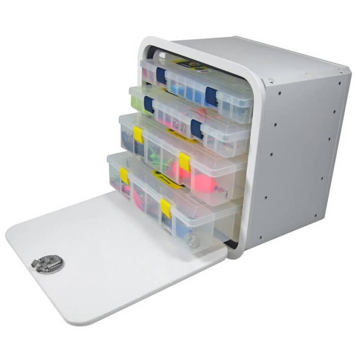 Teak Isle Aluminum Framed 4 Tray Tackle Box 13770 50011f