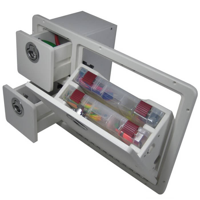 Teak Isle Tilt Out Storage Unit 2 Drawers 2 Trays