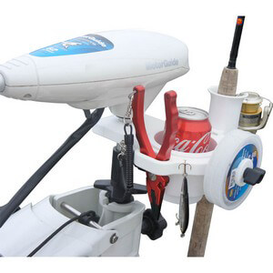Trolling Motor Clamp-on Drink Holder & Gear Organizer - White