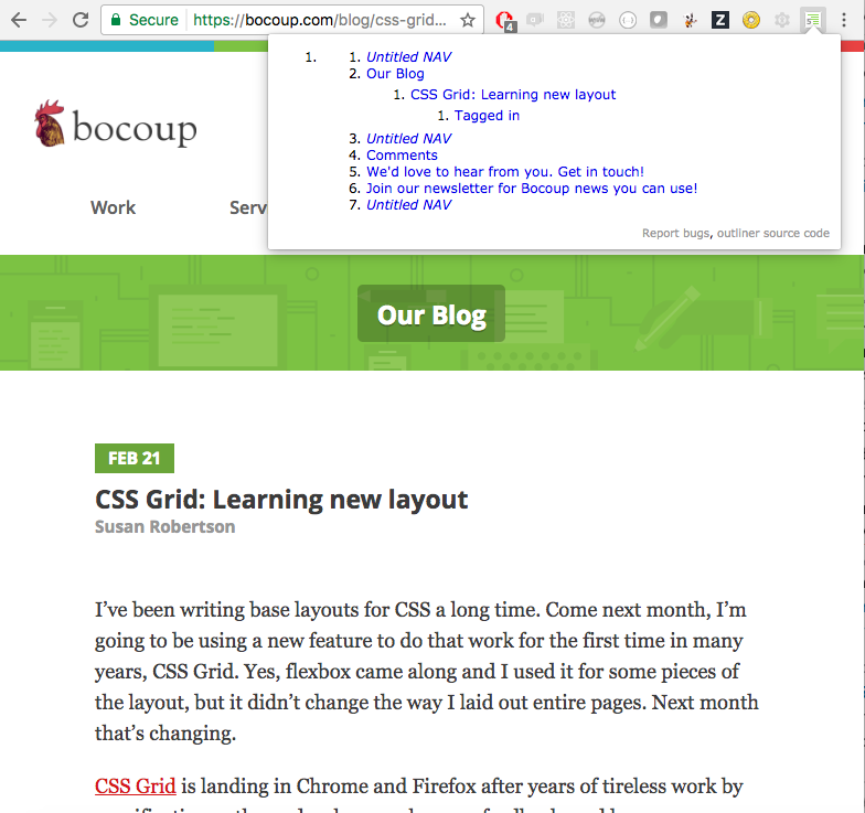 view site headers using a chrome plugin called HTML Outliner
