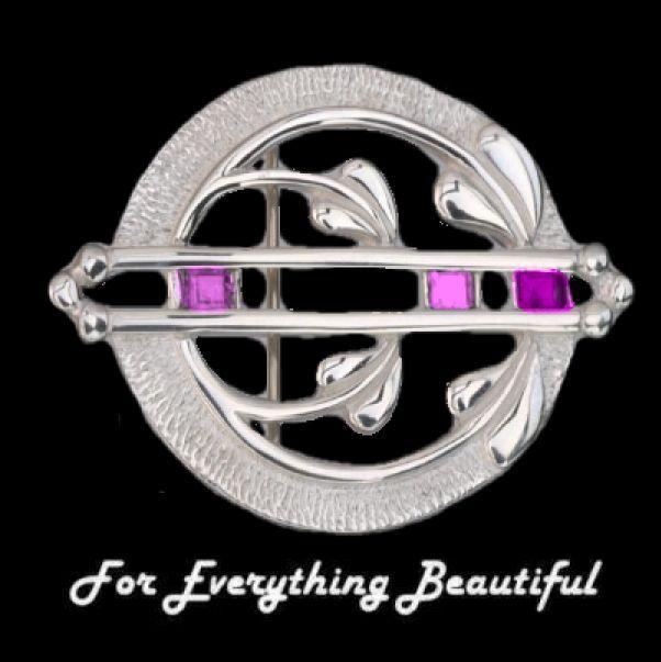 Art Nouveau Pink Tourmaline Round Sterling Silver Brooch