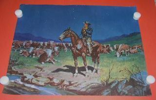 Norm Saunders Night Rider Lithograph Print Vintage 1957