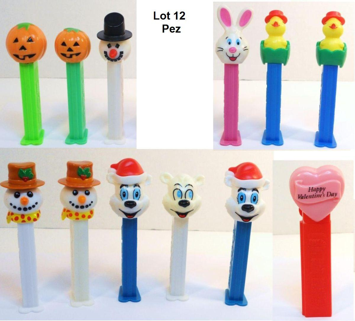 Holiday Pez lot of 12 with Snowman Pumpkin Easter Valentines Polar Bear