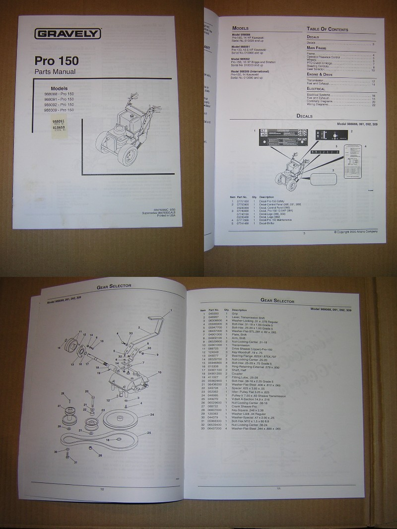 GRAVELY Pro 150 Walk Behind Rotary Mower Parts Manual