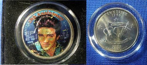 Elvis Presley Colorized 2002 U S Tennessee Quarter