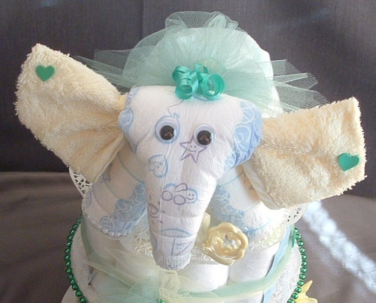 Diaper Cake Decorating Ideas : Living Room Decorating Ideas: Baby Shower Cake Ideas-elephant