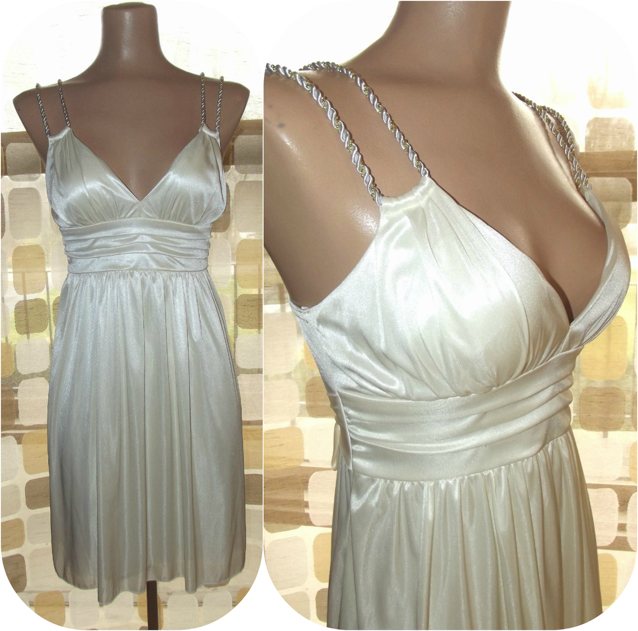 Vintage 70s style grecian inspired mini draped party dress cocktail
