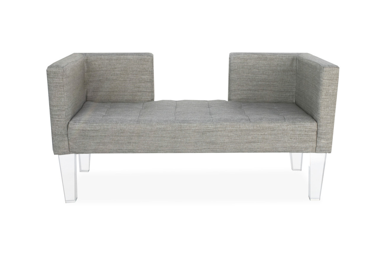 Tufted Lucite Bench 24w X 24d Acrylic Legs Hollywood