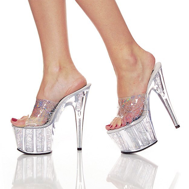 Pleaser Womens SZ 10 Stiletto Shoes Hologram Dress Slide Sandal Heels Platform