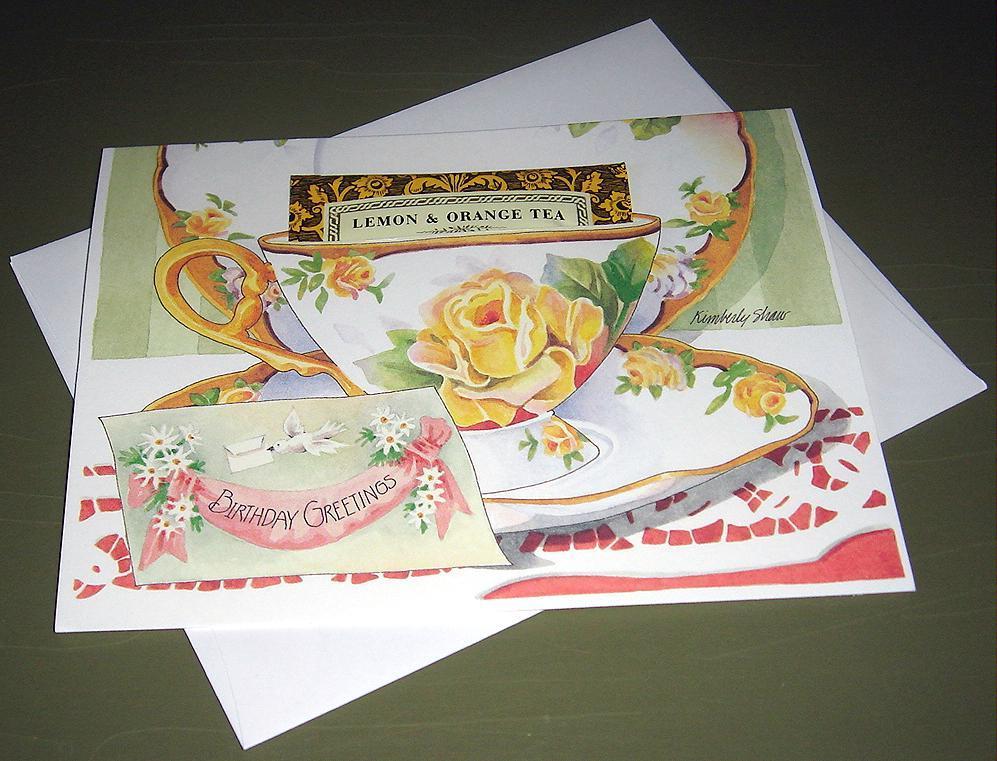 Teacup Greeting Card BIRTHDAY GREETINGS - Home & Garden