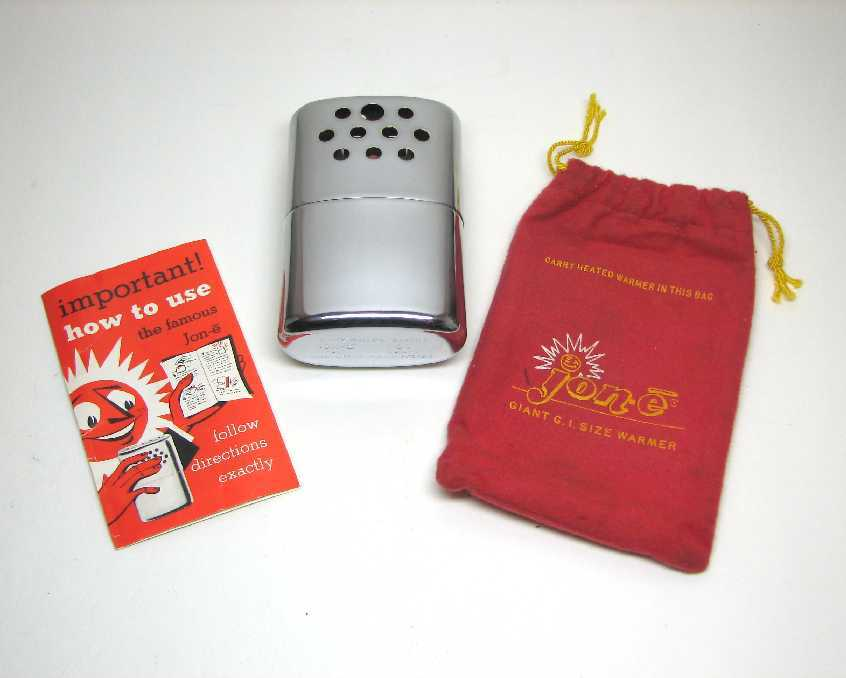 Vintage  Unused ~ jon-e ~ Giant G.I. Size Hand Warmer   w/ Pouch & Instructions