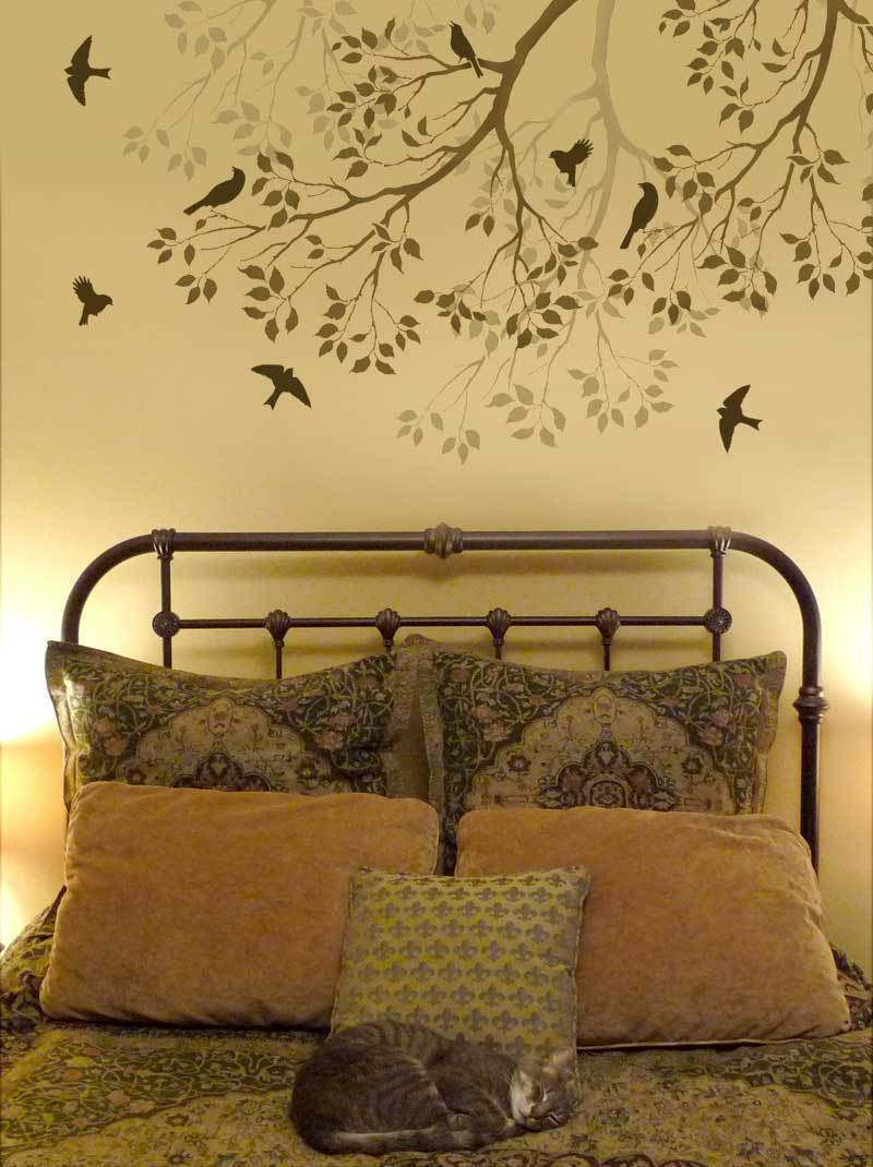 paint templates for walls - wall stencil branch song birds large reusable stencil