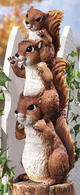 Stack Of Squirrel Peepers Woodland Garden Statue
