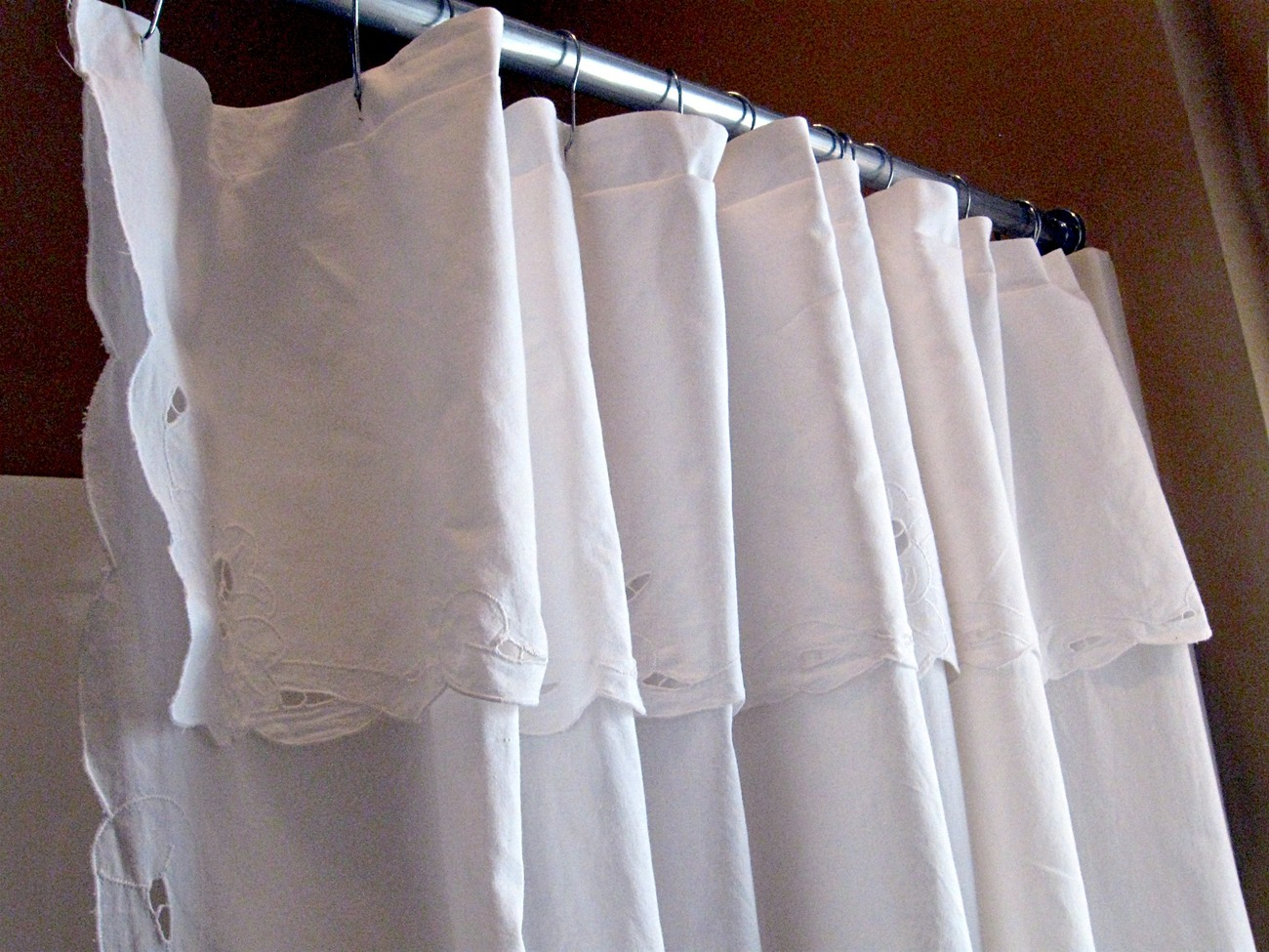 pretty white cotton cutwork lace shower curtain shower