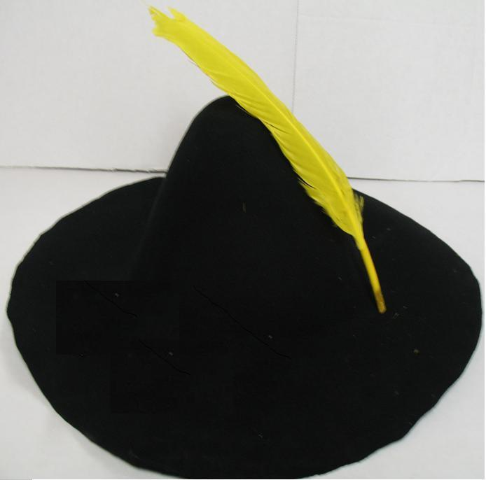 FELT BLACK HILLBILLY HAT WITH FEATHER
